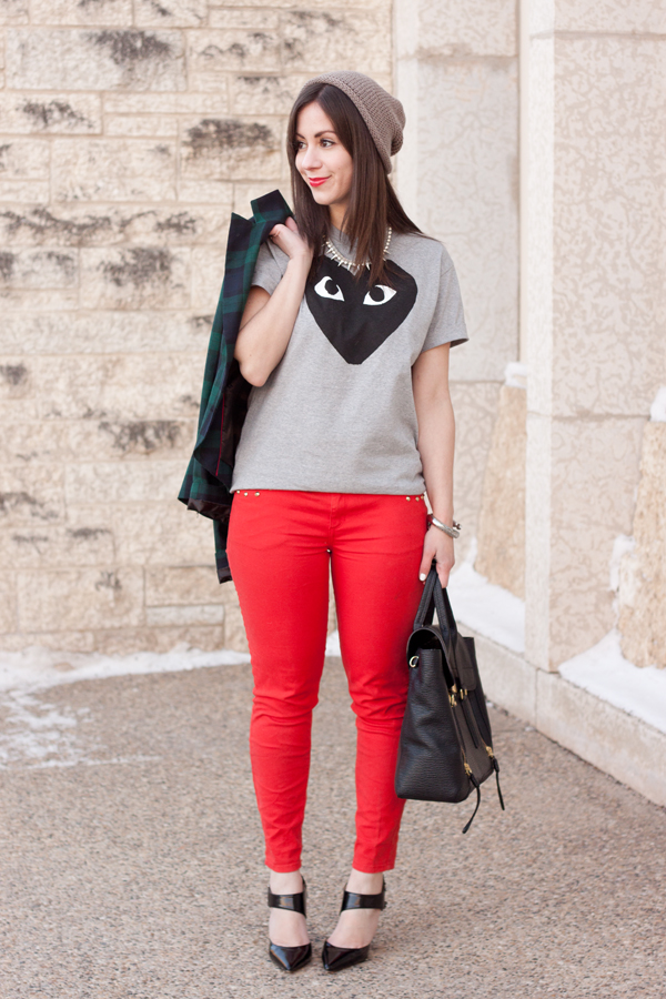 Casual Valentine's Day Outfit with heart Comme de Garcons Shirt and Red Jeans