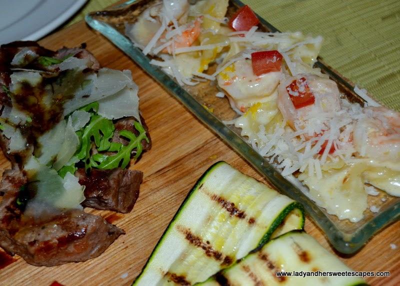 steak and pasta at Serafina in Souk Al Bahar Dubai