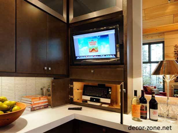 tv shelves in the kitchen, kitchen decorating ideas
