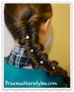 fishtail bow tie side braid hairstyle