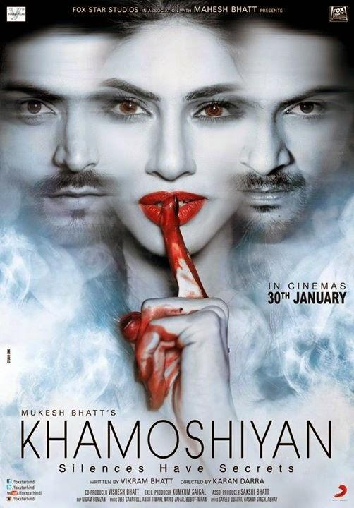 Khamoshiyan movie poster featuring Gurmeet Choudhary, Ali Fazal and Sapna Pabbi