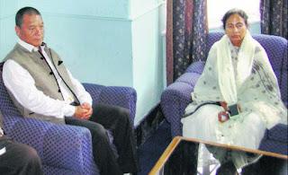 Chief Minister Mamata Banerjee with Gorkha Janmukti Morcha Chief Bimal Gurung