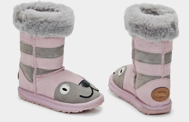 Little Creature Pink And Grey Boots By EMU