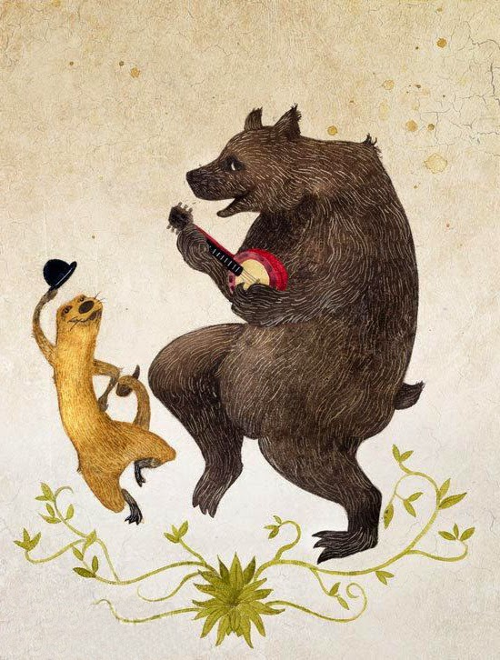 banjo plying bear and dancing ferret animal illustration by Rob Bridges