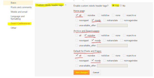 How to do On Page SEO For Blogger Blog - custom robot header tags