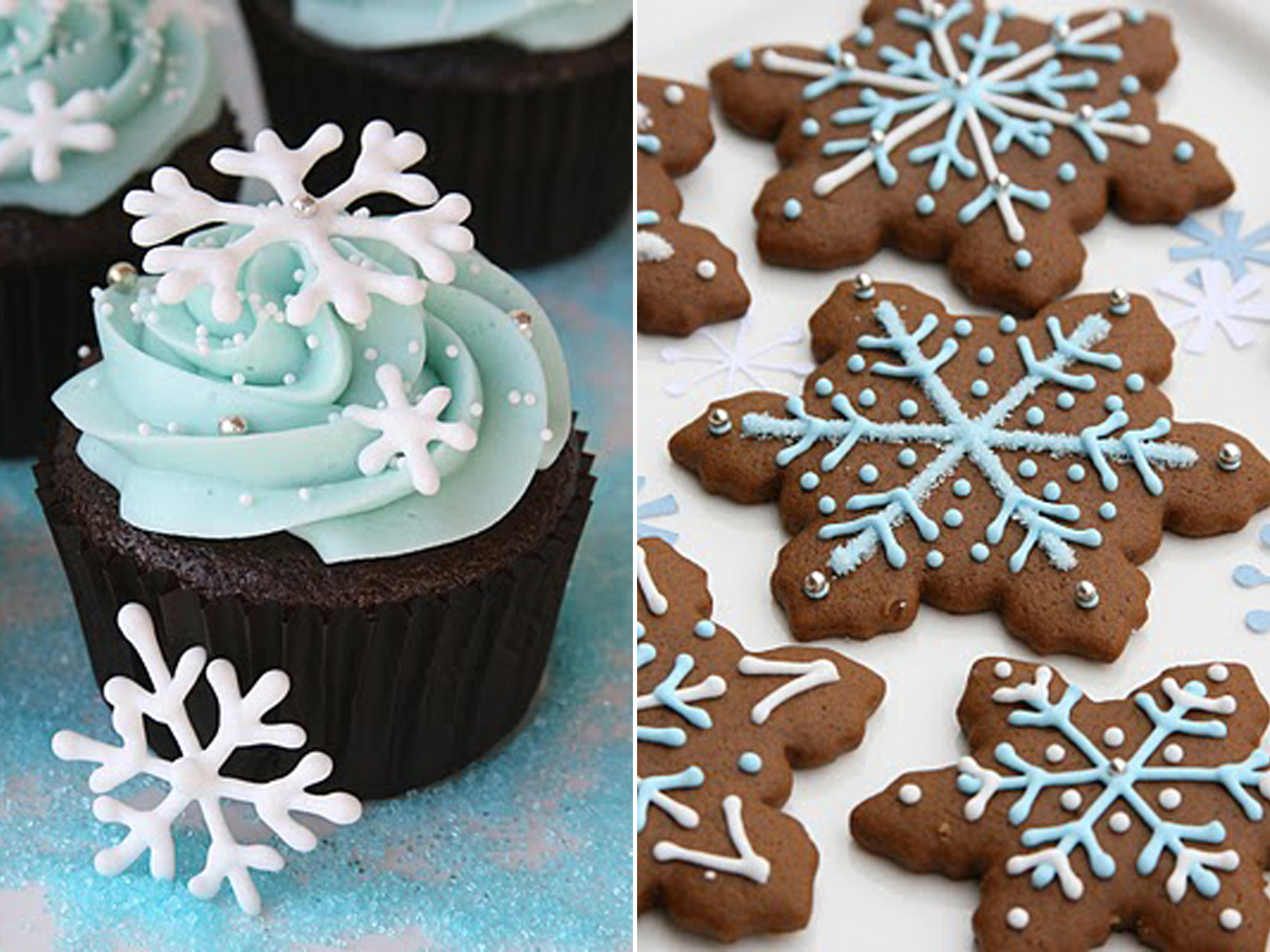 left) Snowflake Cupcakes (right) Gingerbread Cookies