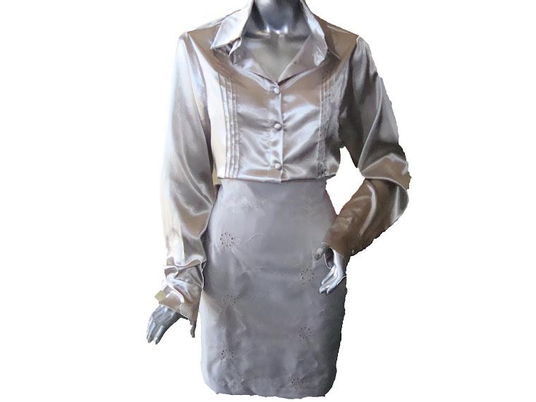 blusa de cetim saia de lese