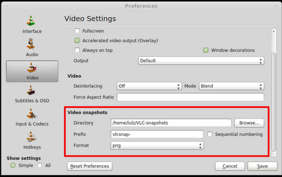 how to find vlc snapshots