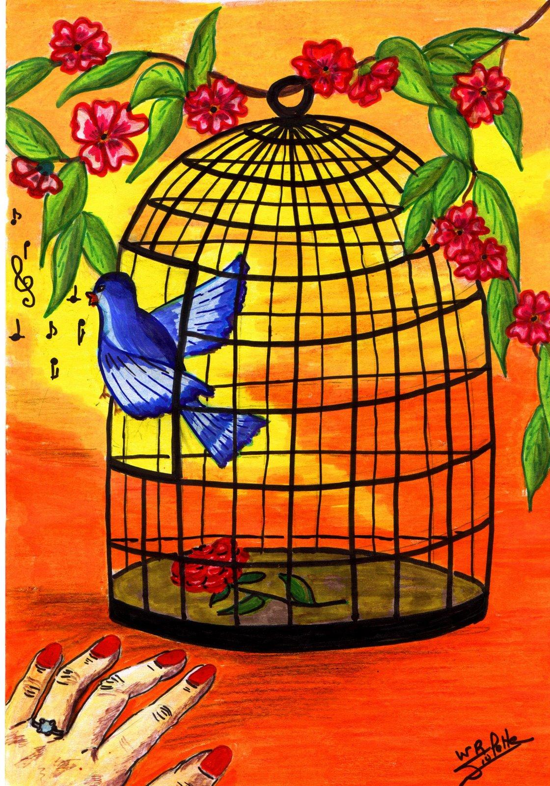 Le tunnel aux allumettes l 39 oiseau bleu vwr - Dessin oiseau en cage ...