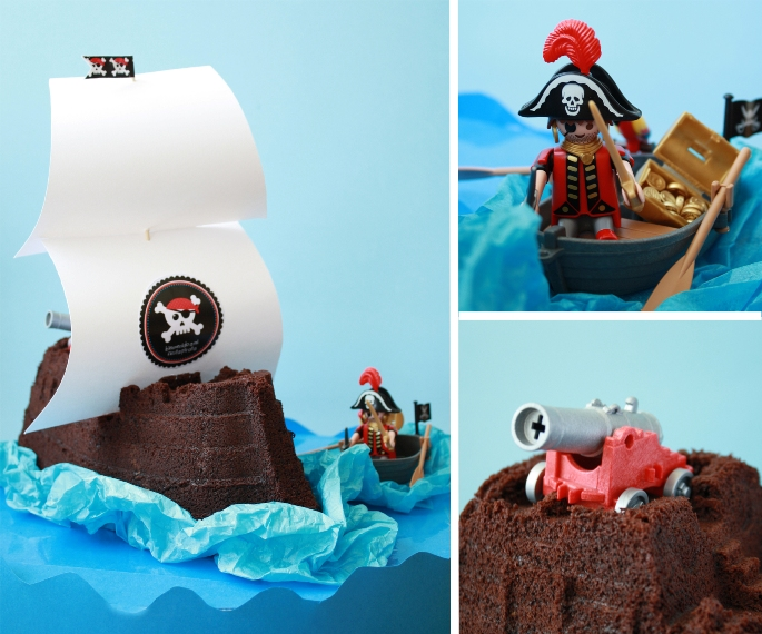 pirate, cake, party, tarta, bizcocho, chocolate, bundt, barco, pirata,cumpleaños, niños, receta