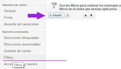 agregar un filtro a yahoo mail