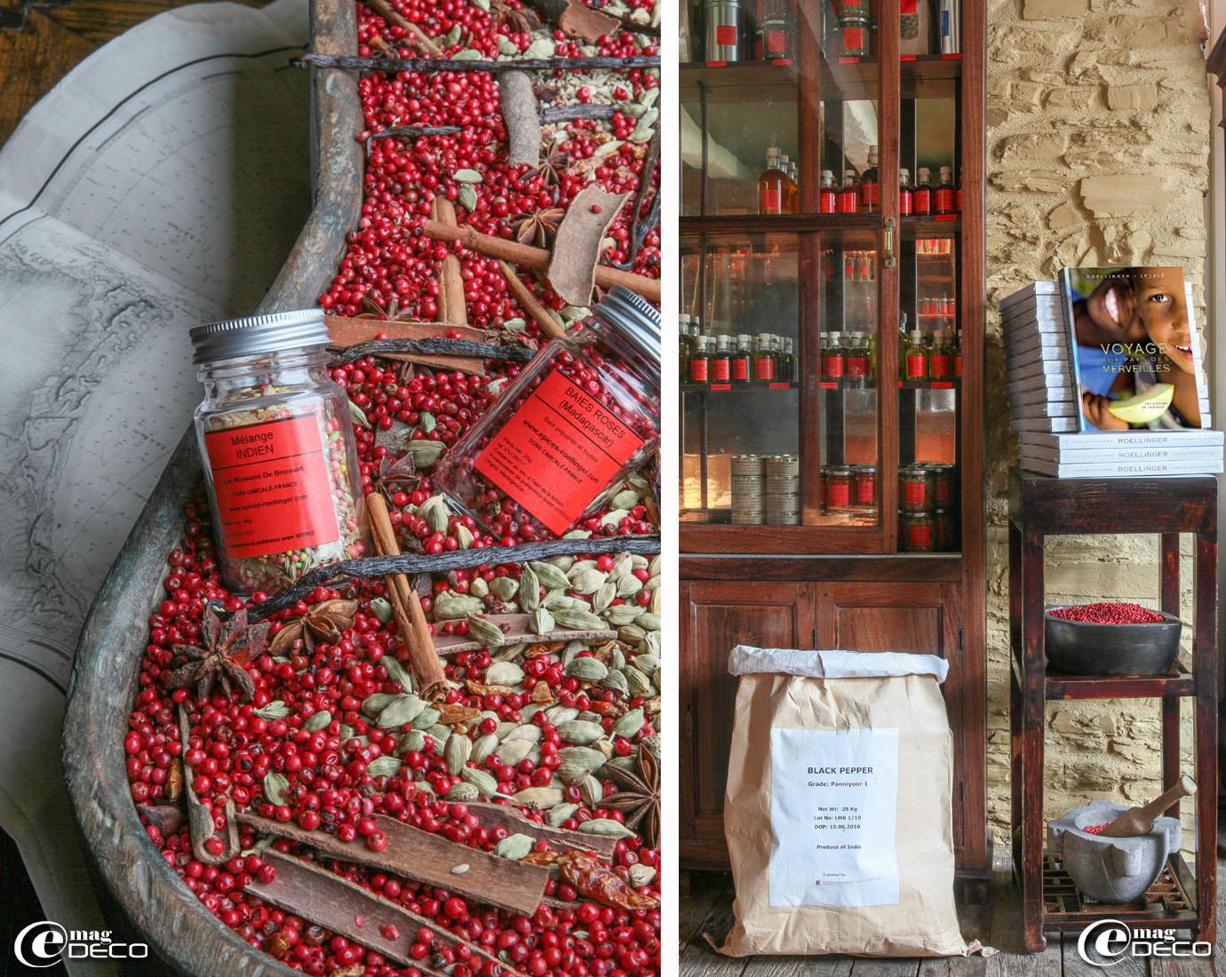 Dans la boutique 'Épices-Roellinger' à Cancale, le livre 'Voyage aux pays des merveilles' d'Olivier Roellinger, Christian et Vincent Lejalé