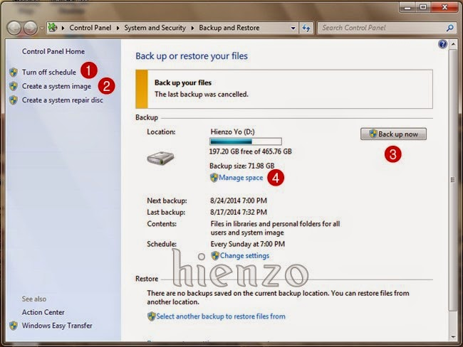 Backup and Restore in Windows 7