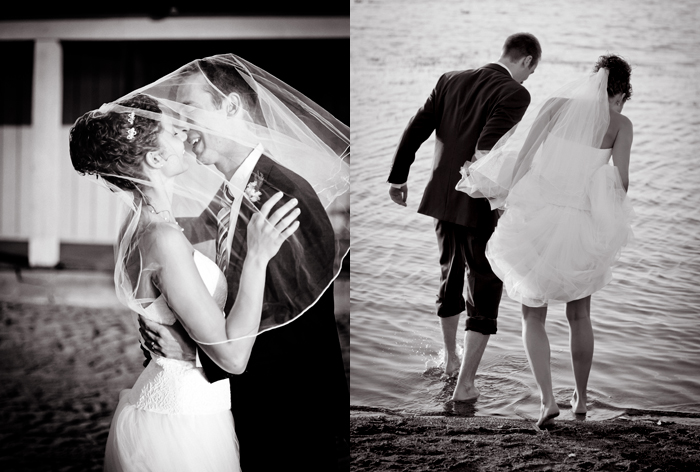 Wedding photos on the beach, wedding photo under the bride's veil, wading wedding couple