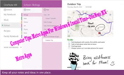 Computer Tips: Metro Apps For  Windows 8 Install Time-- OneNote MX Metro Apps
