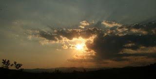 Sun heading towards the horizon