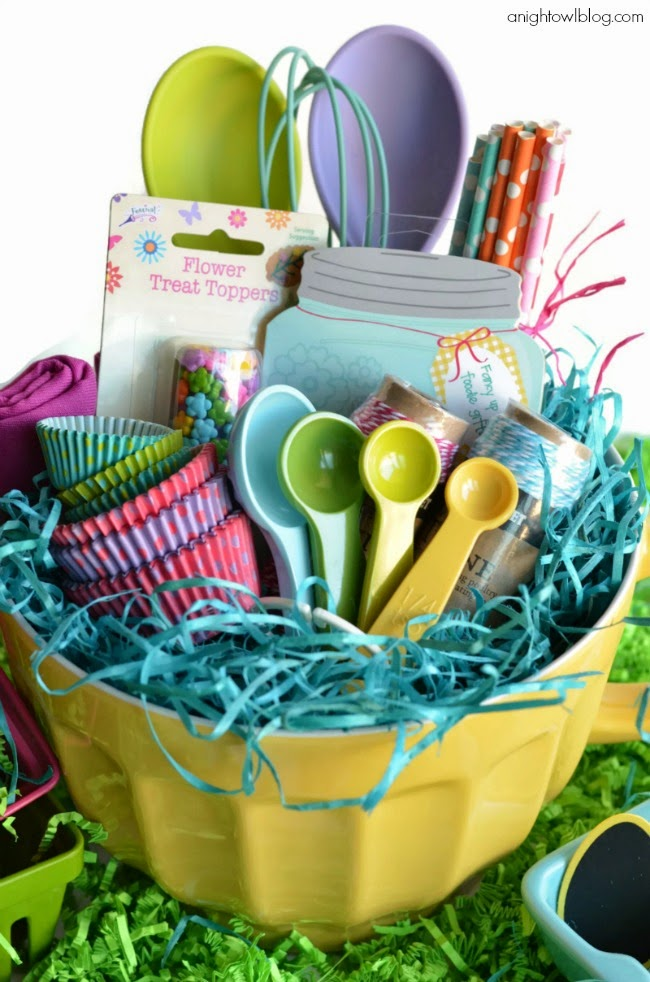 Inside the brick house 15 themed easter baskets for kiddos of all bakers basket use a cakebread pan instead of a basket cookie cutters recipe box and cardsrecipe book rolling pin apron measuring cups spoons negle Gallery