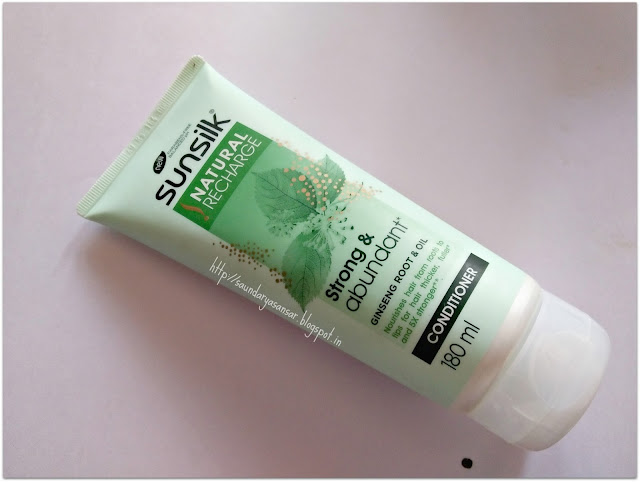 Sunsilk Natural Recharge- Strong & Abundant infused with Ginseng root & oil Conditioner :Review