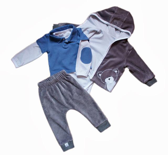 Комплект из футболки-поло, боди, штанишек и кофточки с капюшоном