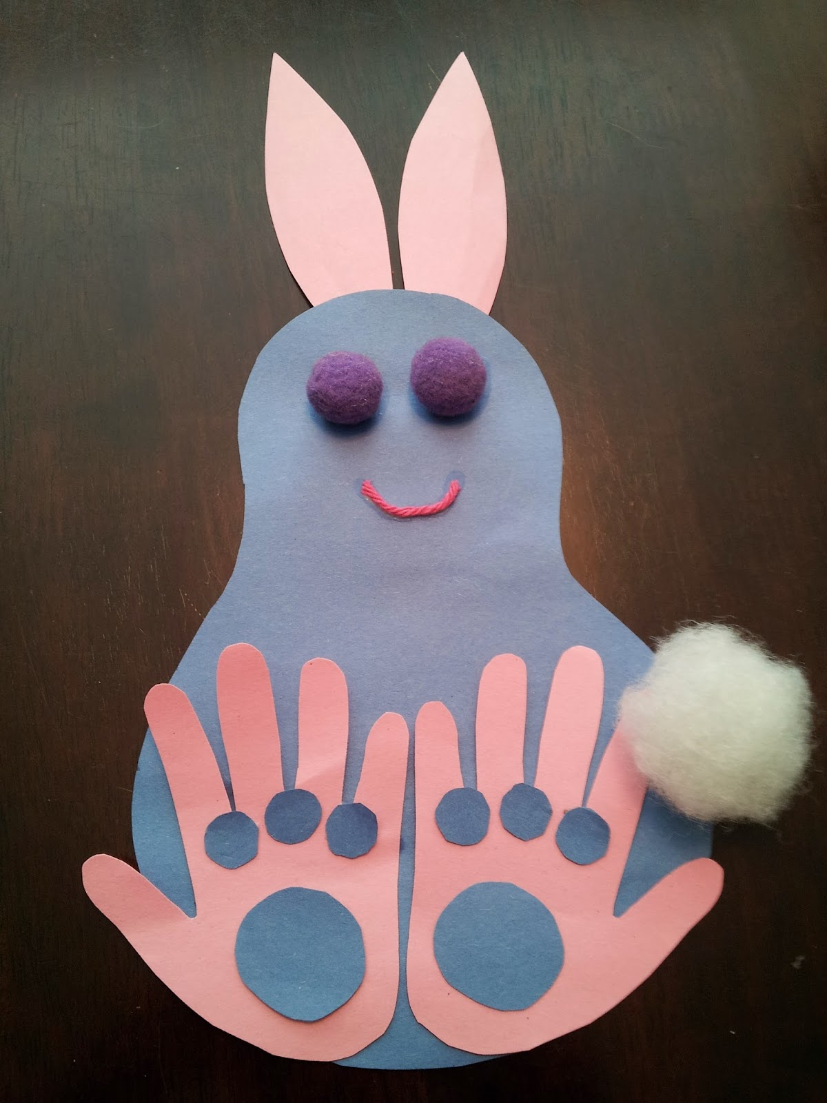 Easter bunny handprint craft, kids crafts