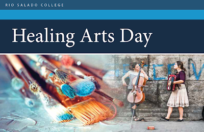 Header for Healing Arts Day invite.  Images of artistic expression like paint, young people playing instruments.