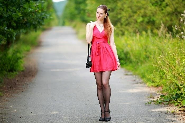 red dress, black stockings, black heels, robert gordon university