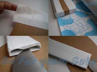 Revestindo a bainha de papelão com papel auto-adesivo.