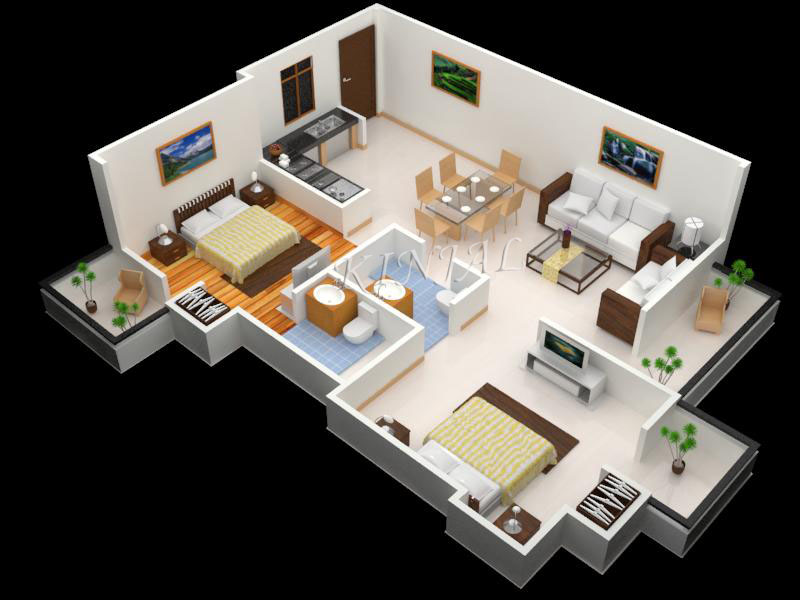 3ds max files 2bhk floor plan for Max house plans