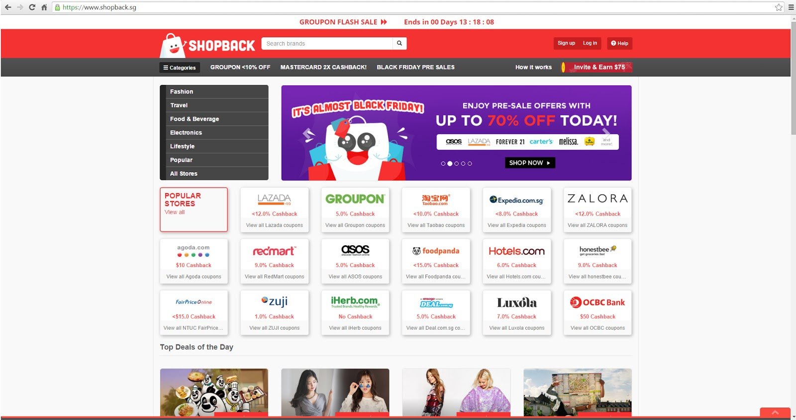 Cashback with ShopBack