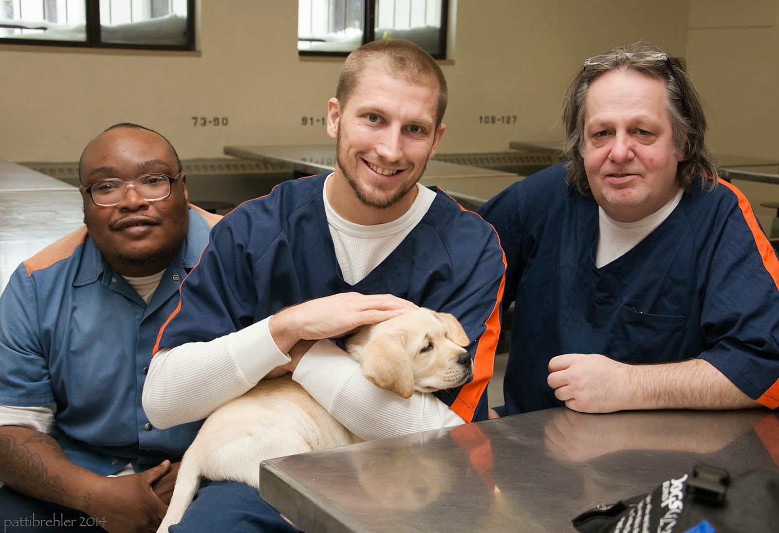 A small yellow lab is held by one man sitting in the middle of two other men at a metal table. The man on the left is african american and his head is bald and he is wearing glasses. The man in the middle has a buzz cut, and the man on the right has longer grey hair, he also has glasses pushed up on his head. They are all wearing blue shirts with orange stripes on the shoulders, with white tshirts underneath. They are smiling.