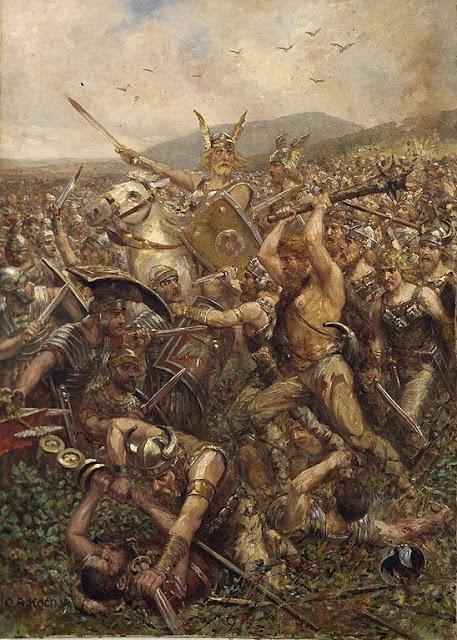 Pintura Guerreros Germánicos que azotan el campo de Varusschlacht (Batalla de Varo) Obra de Otto Albert Koch
