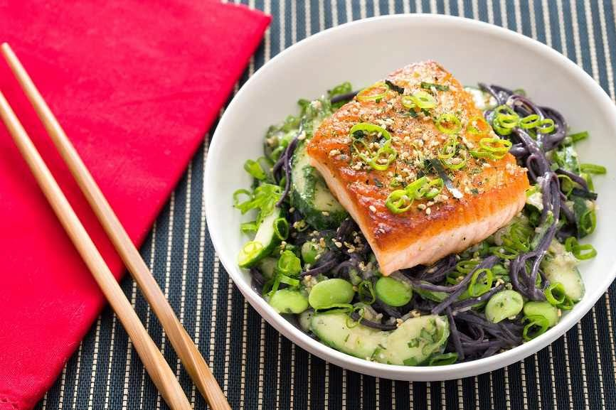 Furikake-Topped Salmon With Fresh Edamame & Miso-Sesame Black Noodles #Recipe