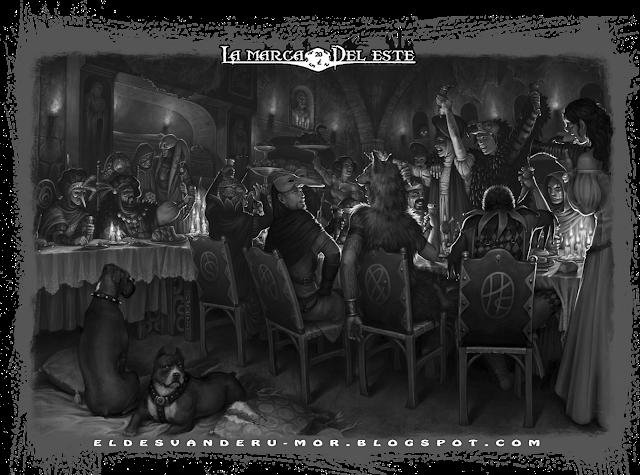 Ilustración hecha por ªRU-MOR para el juego de rol de Avenuras en la Marca del Este. En la escena se presenta una fiesta de disfraces con 17 comensales divirtiendose, bebiendo y comiendo animadamente, charlando con los otros asistentes y disfrutando la velada mientras se va cociendo lentamente el plan macabro del anfitrión de la fiesta (el conde, sentado en la cabecera de la mesa). Al lado de la mesa se pueden contemplar una par de los perros de caza del Conde esperando que acabe el jorgorio para devorar los restos (y esto también va con doble intención)