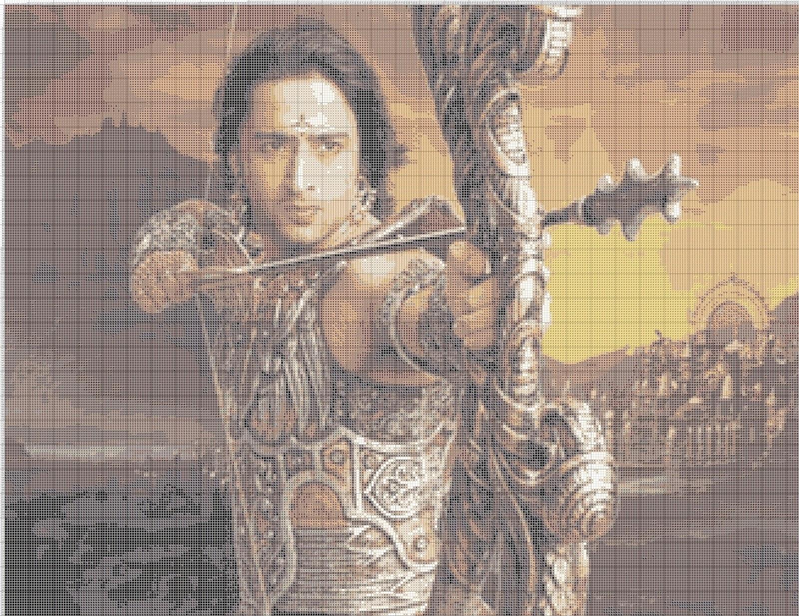 Gambar Pola Kristik Arjuna Pandawa Mahabharata