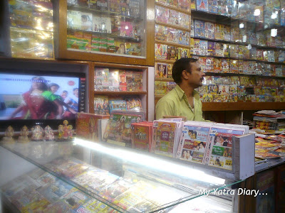 A CD cassette shop in the market lanes of Haridwar