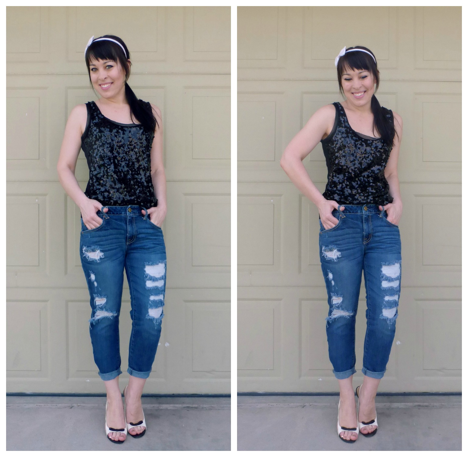 how to wear boyfriend distressed jeans