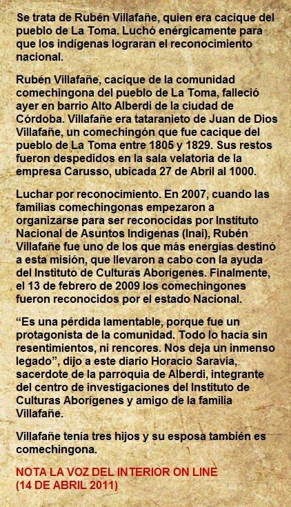 FALLECIÓ CACIQUE COMECHINGON