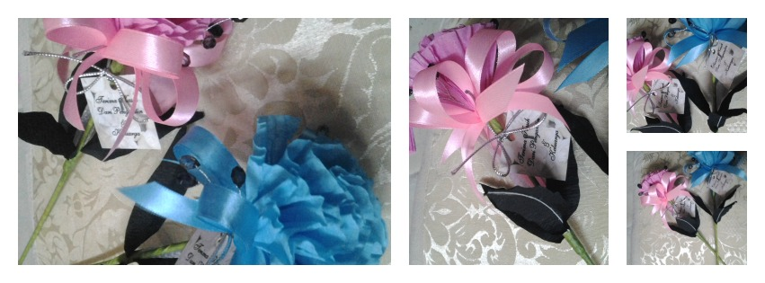 Bunga Telur Carnation Biru Turquoise & Pink