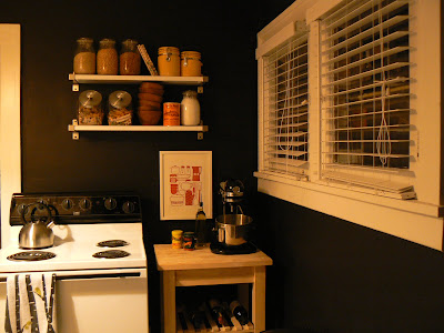mylittlehousedesign.com kitchen with painted black walls