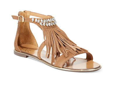 Report Signature neutral flat sandals with fringe