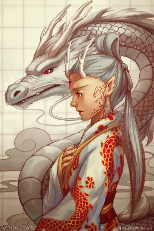 illustration de Qing Han d'une femme et d'un dragon blanc