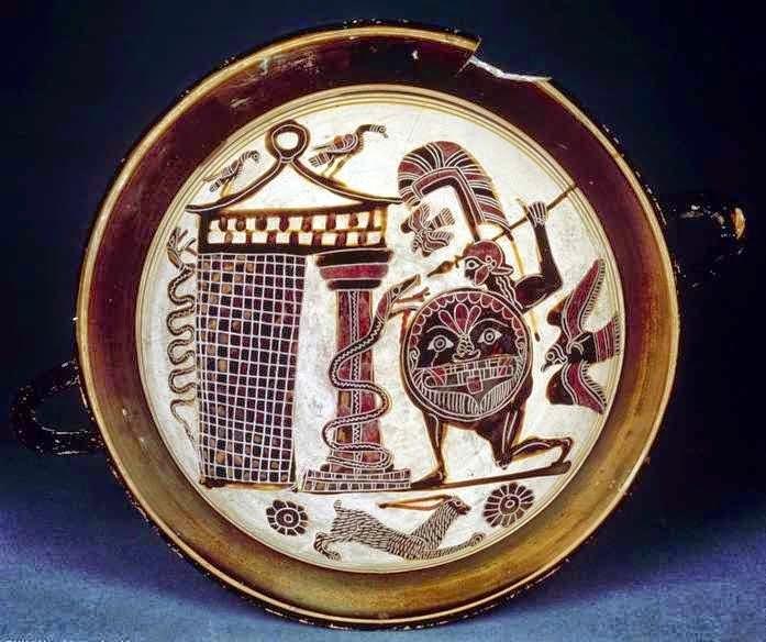 Ο Κάδμος αντιμετωπίζει το δράκο που φυλάει την πηγή απ' όπου πήγε να πάρει νερό για τη θυσία προς την Αθηνά. Λακωνική, αρχαϊκή κύλικα του ζωγράφου Rider, περίπου 550-540 π.Χ. Βρέθηκε στην Ετρουρία. Σύμφωνα με άλλη εκδοχή είναι ο Απόλλωνας που σκοτώνει τον Πύθωνα. Παρίσι, Μουσείο του Λούβρου, E 669