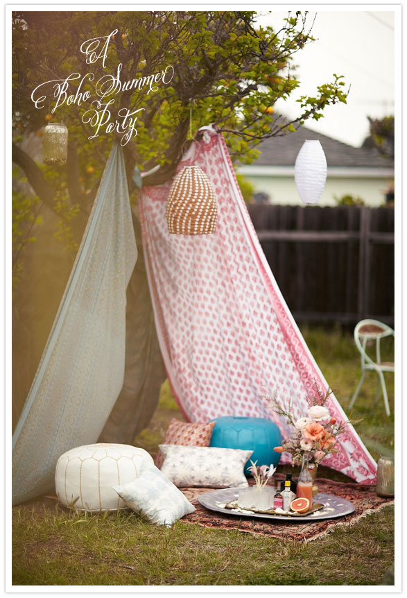 Bohemian Backyard Party : Ahhh, see what a few Indianblock tapestries, a vintage rug, and a few