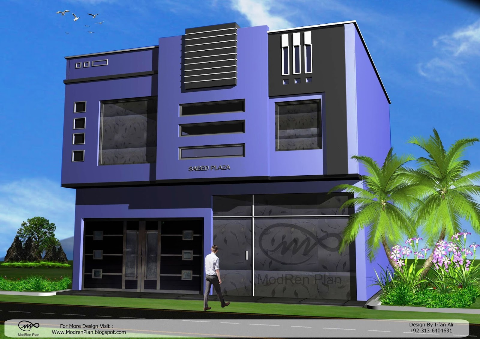 Modern commercial building designs and plaza front elevation for Modern industrial building design