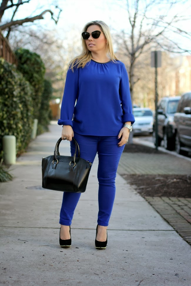blue monochromatic look of the day