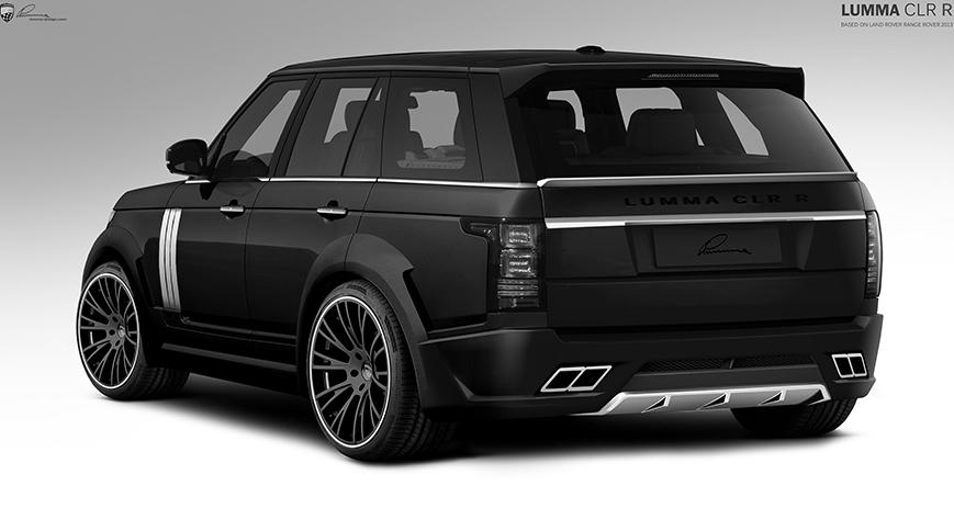 Чёрный  Range Rover вид сзади