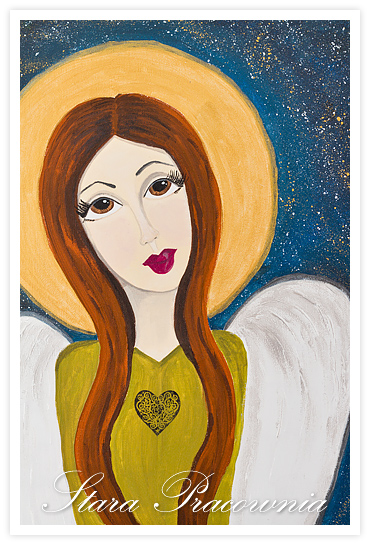 Anioł malowany farbami akrylowymi, anioły malowane