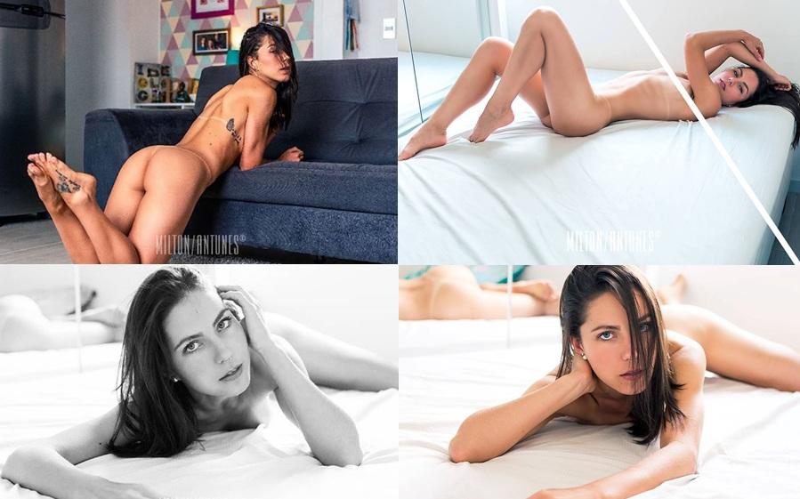 Modelo penapolitana faz ensaio sensual, mostra que está em boa forma e leva internautas à loucura