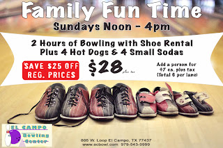 Family Fun Time at El Campo Bowling Center