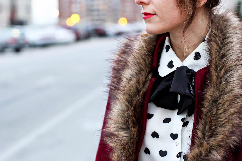 forever 21 faux fur coat, heart blouse, vintage fashion blogger, nyc vintage blog, nyc fashion blog